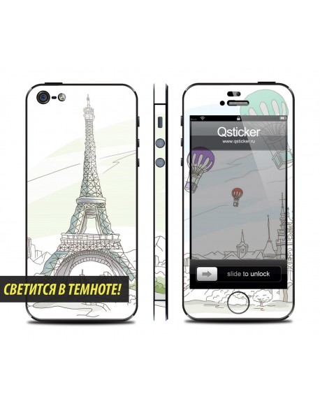 Samolepka pro iPhone SE/5s/5 - Neon Paris