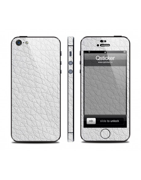 Samolepka pro iPhone SE/5s/5 - Leather white